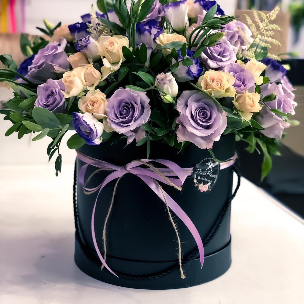 Букет фиолетовых роз в коробках фото, роз доставкой новый