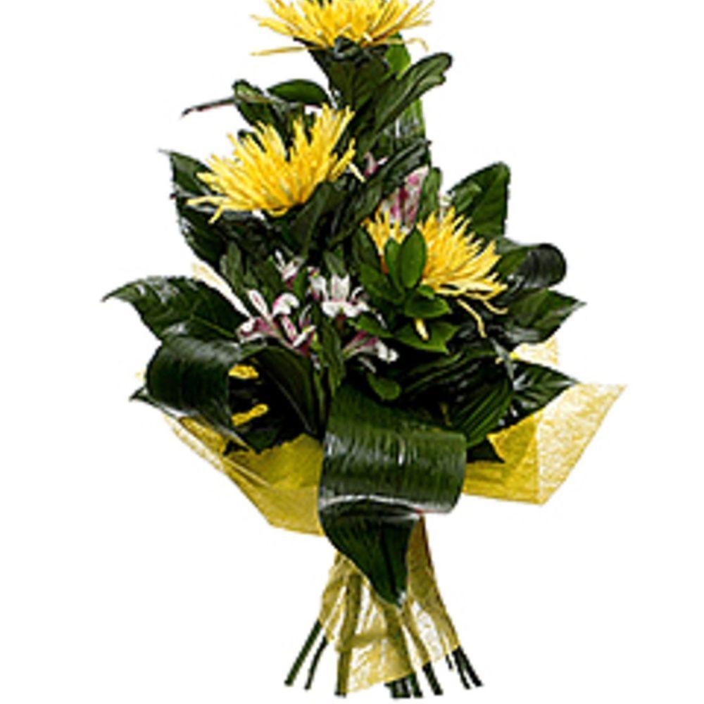 Вертикальный букет из хризантем, голубые цветы спб