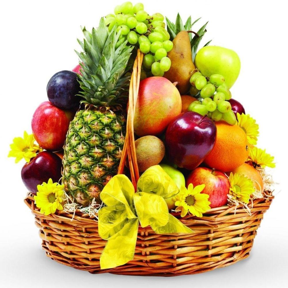 Губами, корзина фруктов открытка