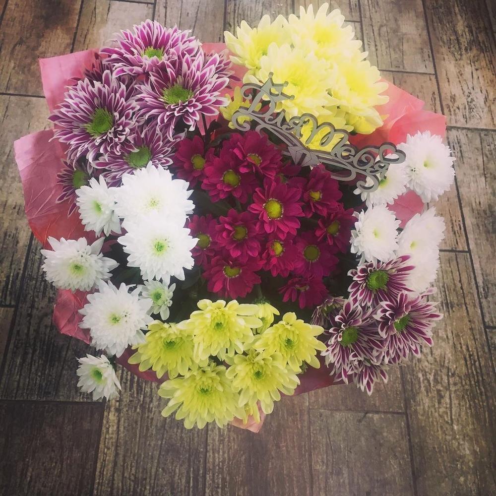 Цветы нижнем, букет из хризантем в гостевую визу