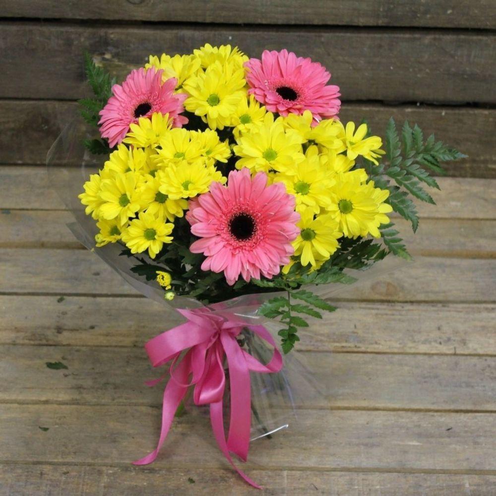 Новокузнецк, букет из желтых хризантем с герберами