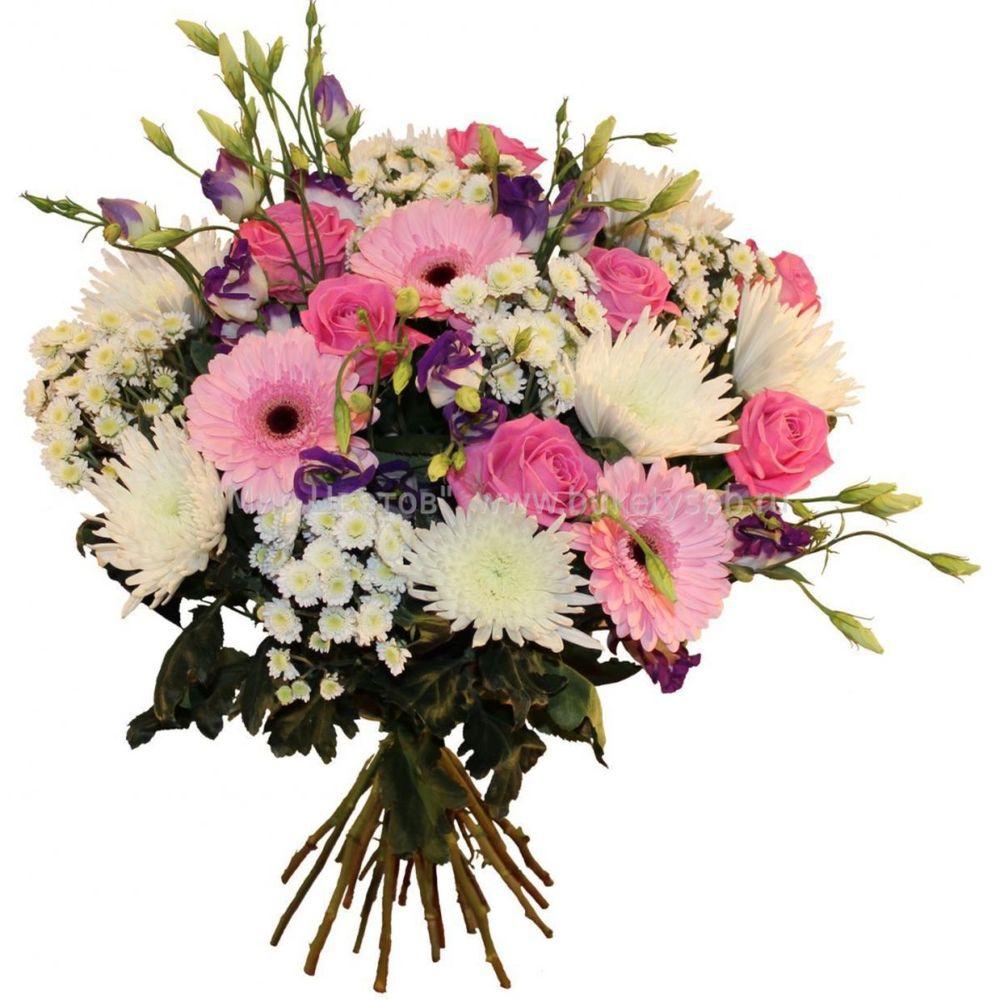 Букет гербера хризантема эустома, роза