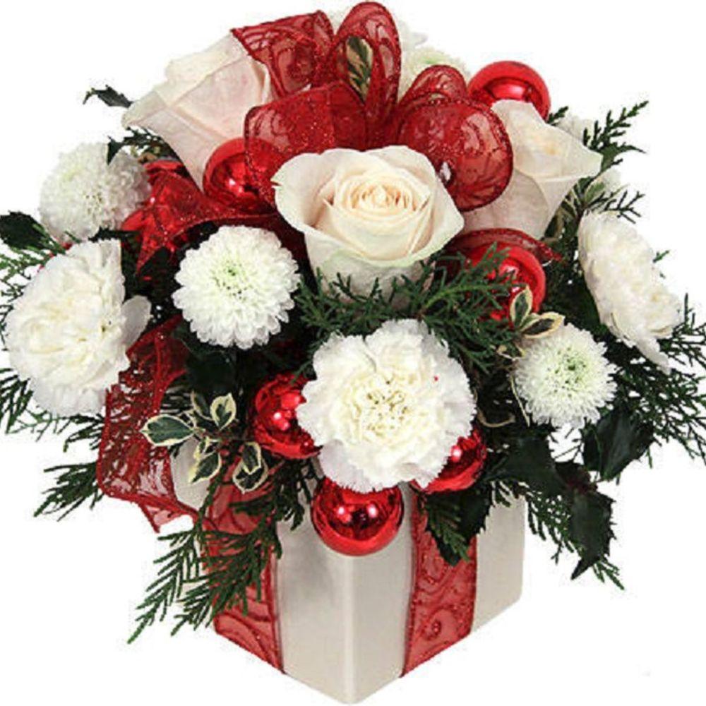 Розовых пионы, новогодний букет из роз и хризантемы
