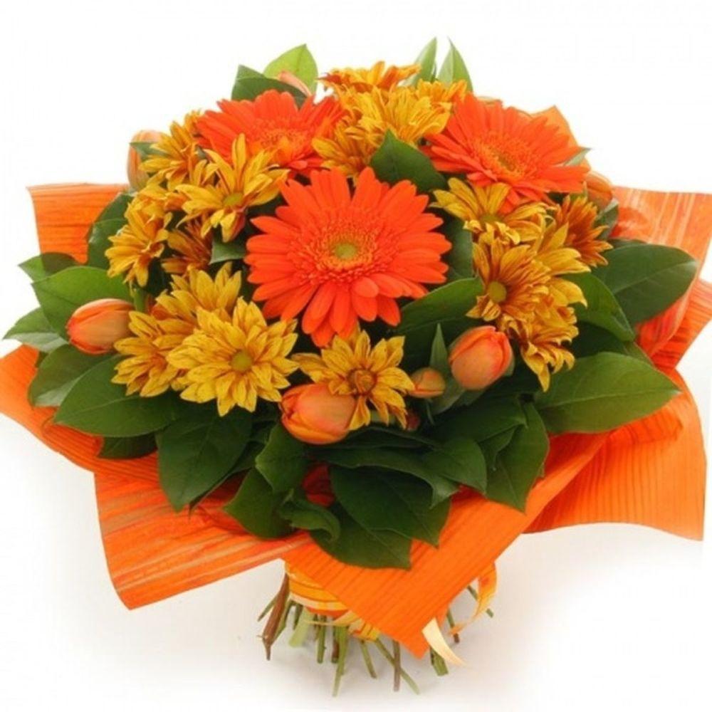 Открытки с днем рождения цветы оранжевые