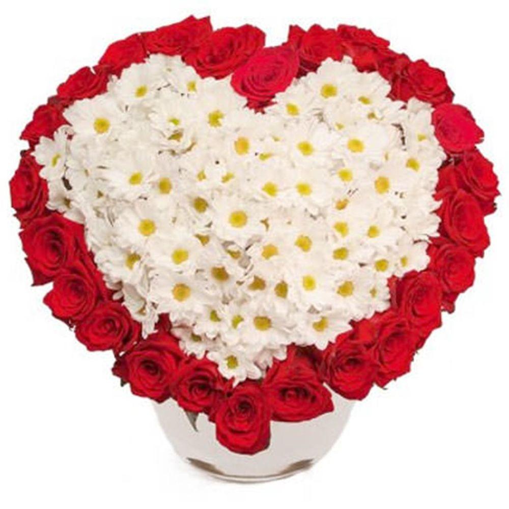 Желтых пионов, букет для любимой в виде сердца из хризантемы
