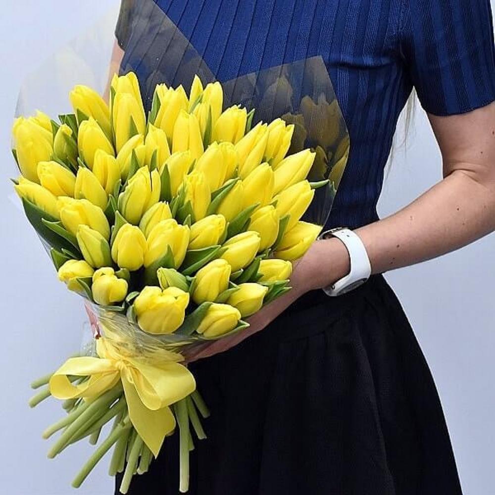 большущие букеты тюльпанов желтых фото