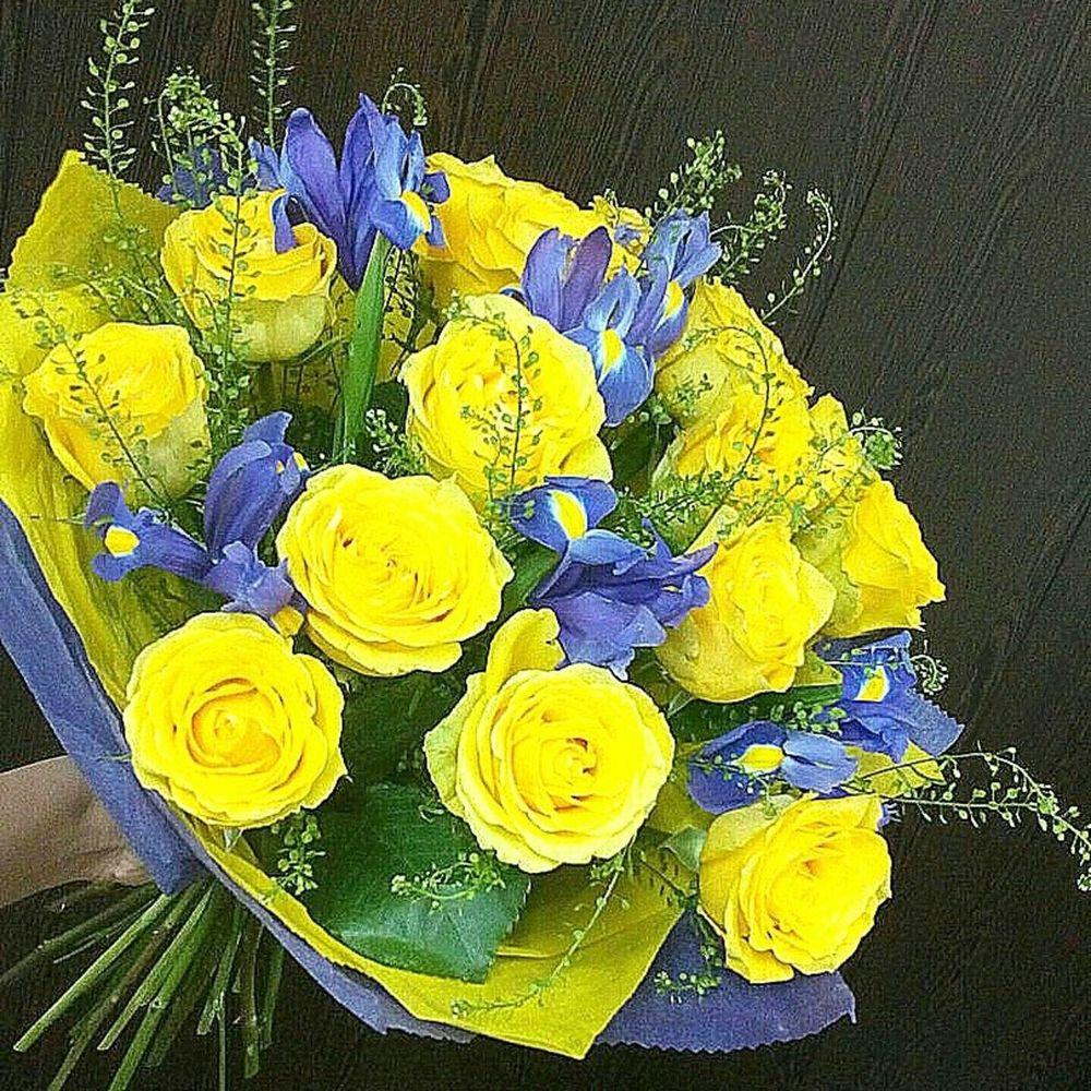 Свадебных букетов, желтые роза ирисы букет
