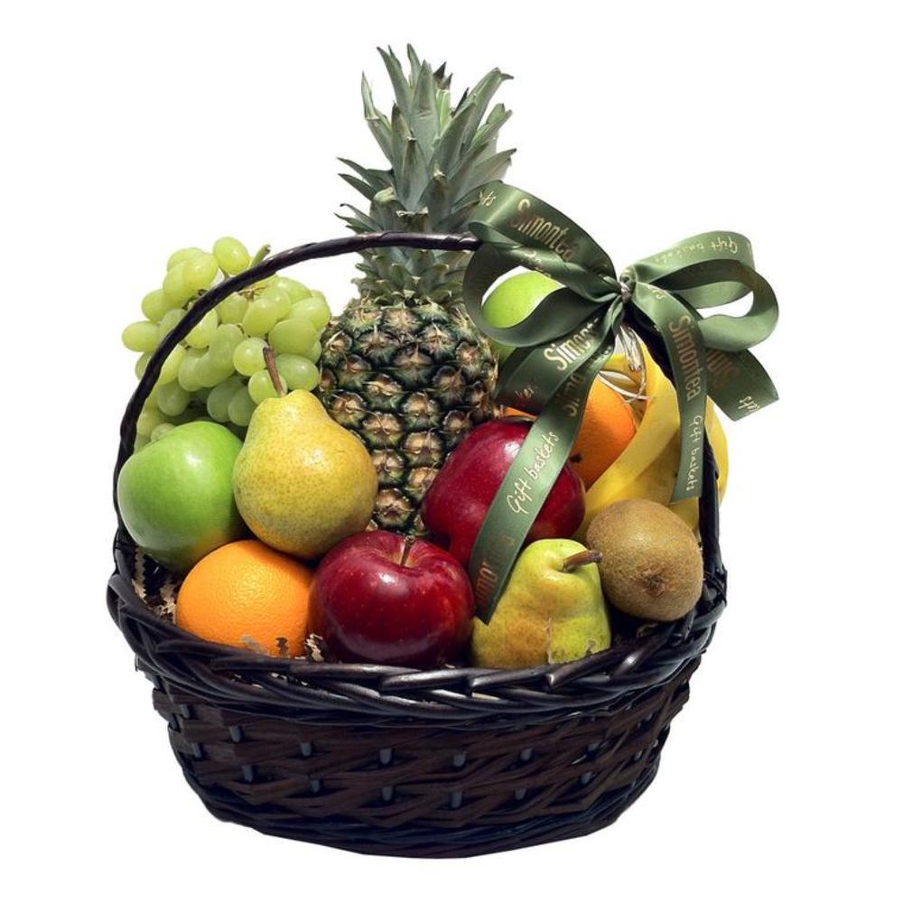 Поздравления, корзина фруктов открытка