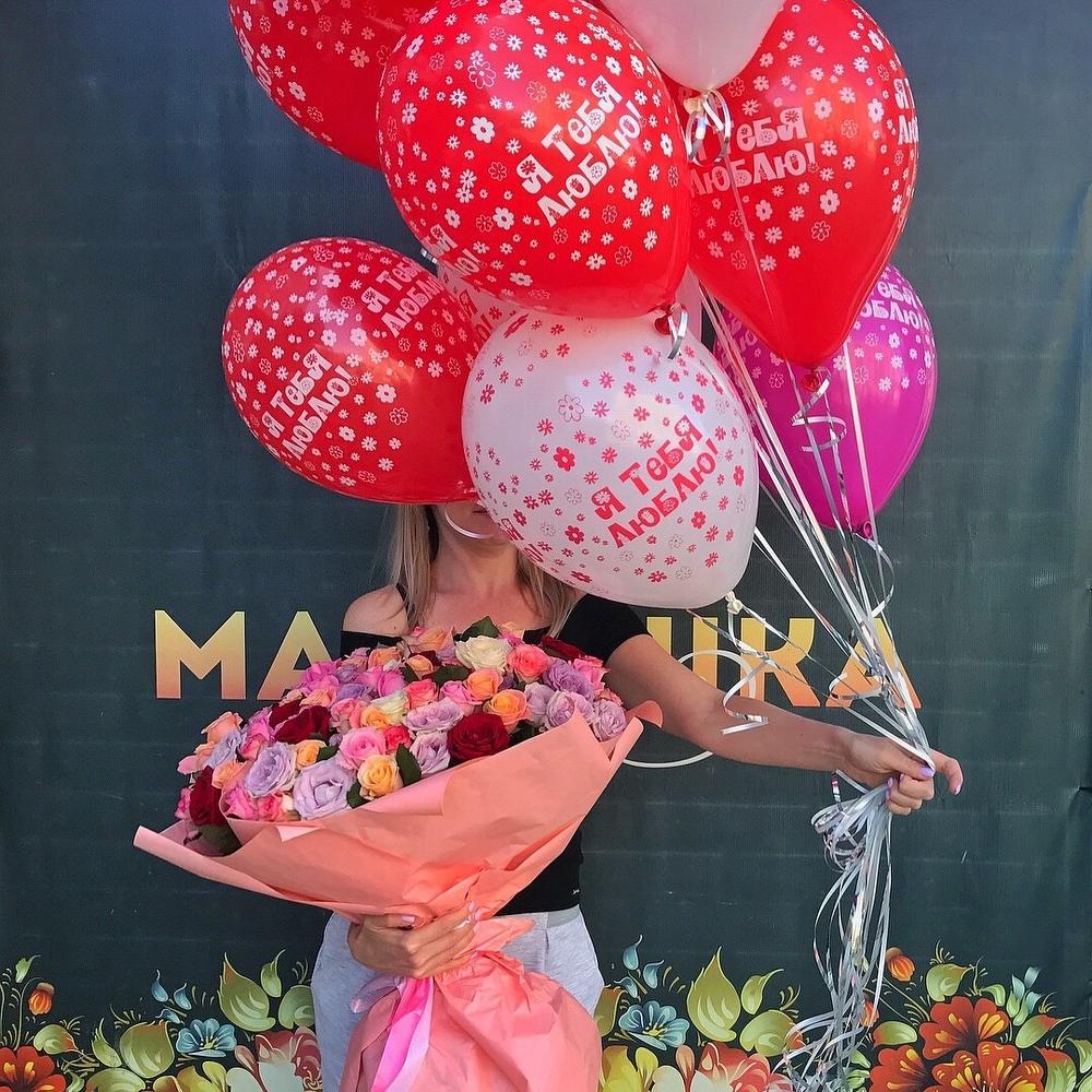 Картинка букет роз и много воздушных шариков