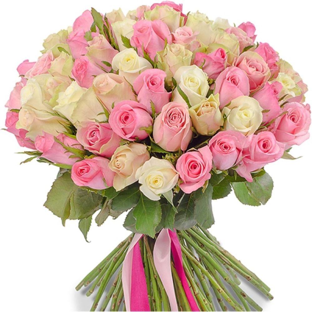 Розовые розы по краям фото букетов
