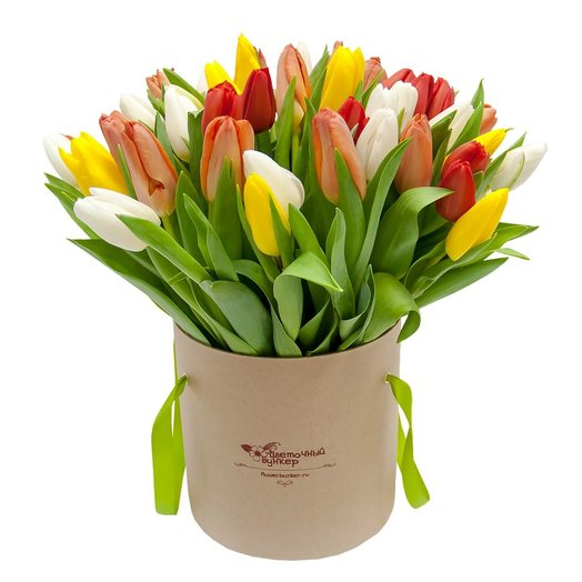 Тюльпаны в шляпной коробке Амстердам: букеты цветов на заказ Flowwow