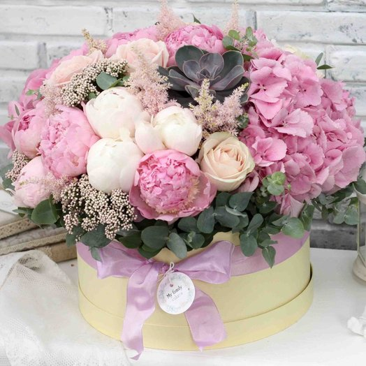 Цветы в коробке XL (30 см) 0585: букеты цветов на заказ Flowwow