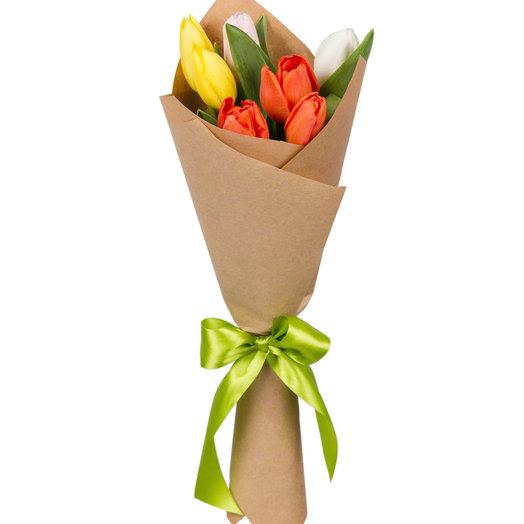 Букет из 7 тюльпанов микс: букеты цветов на заказ Flowwow