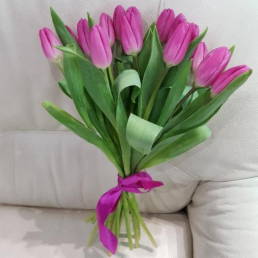 Букет из 15 розовых тюльпанов: букеты цветов на заказ Flowwow