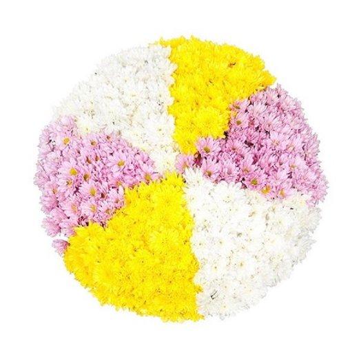 Хризантемное колесо букетом, в коробе или корзине: букеты цветов на заказ Flowwow