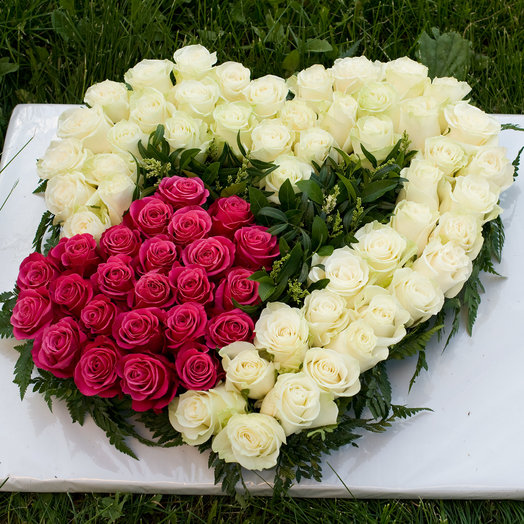 Сердце из 75 роз Признание: букеты цветов на заказ Flowwow