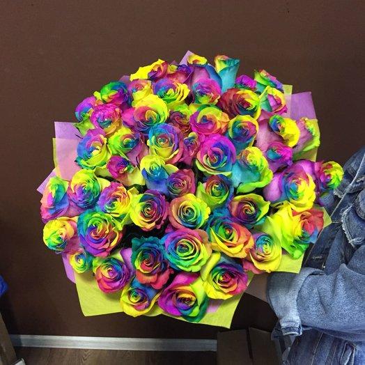 Радужная роза 51 шт: букеты цветов на заказ Flowwow