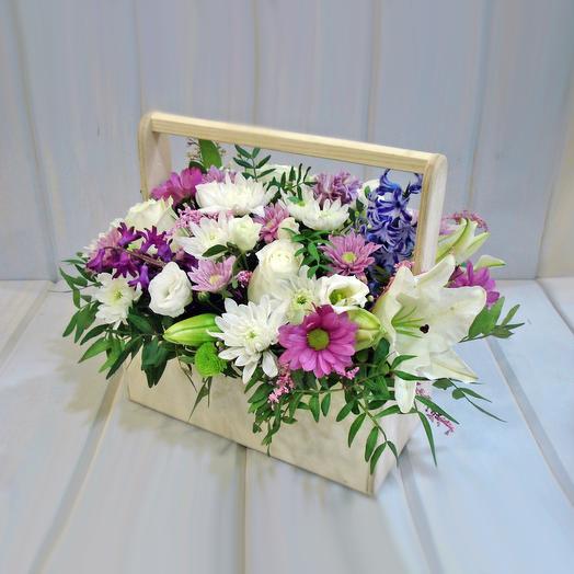 Микс в ящичке 1: букеты цветов на заказ Flowwow