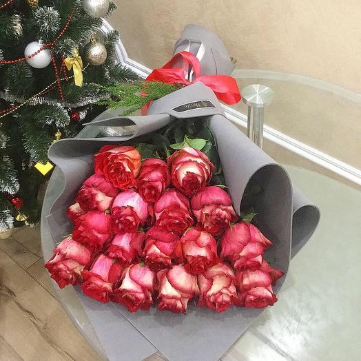 Букет одноголовых роз в упаковке 25 шт
