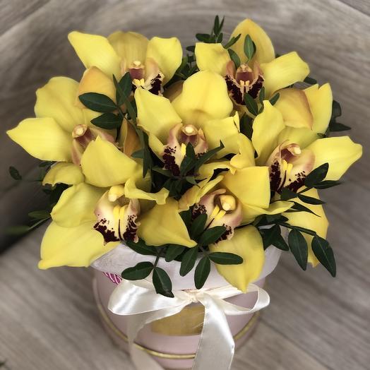 Шляпная коробка с желтыми орхидеями: букеты цветов на заказ Flowwow