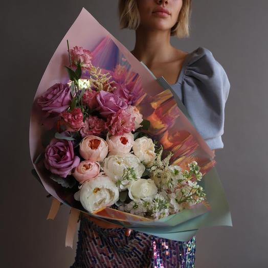 """Букет с эустомой и пионовидной розой """",, Glamorous"""": букеты цветов на заказ Flowwow"""
