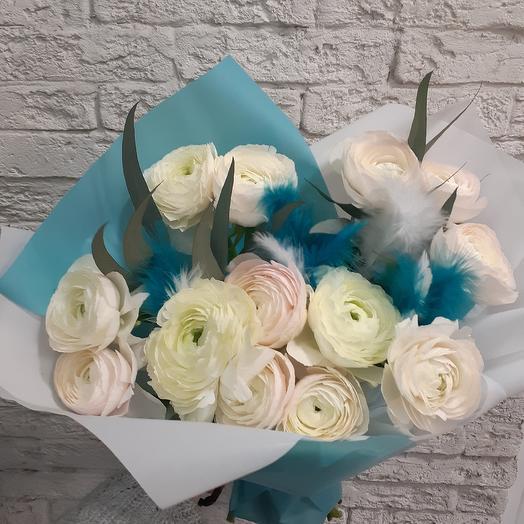 Шикарные ранункулюсы в стильном букете: букеты цветов на заказ Flowwow