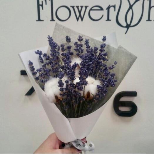 Бело-фиолетовый сухоцвет: букеты цветов на заказ Flowwow