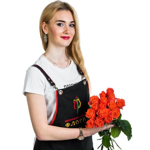 15 оранжевых роз: букеты цветов на заказ Flowwow