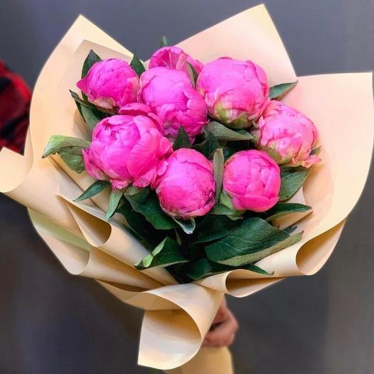 7 розовых пионов: букеты цветов на заказ Flowwow
