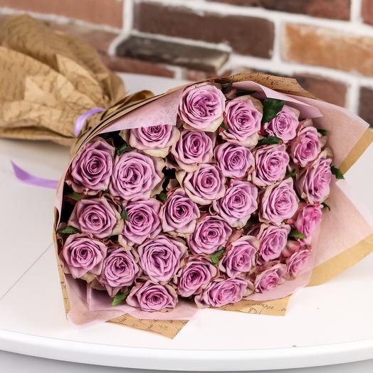Букет из 29 сиреневых роз. N850