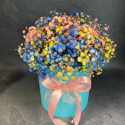 Flowers in a hypsophila box