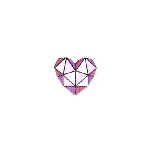Значок-пин деревянный Waf-waf Сердце геометрическое