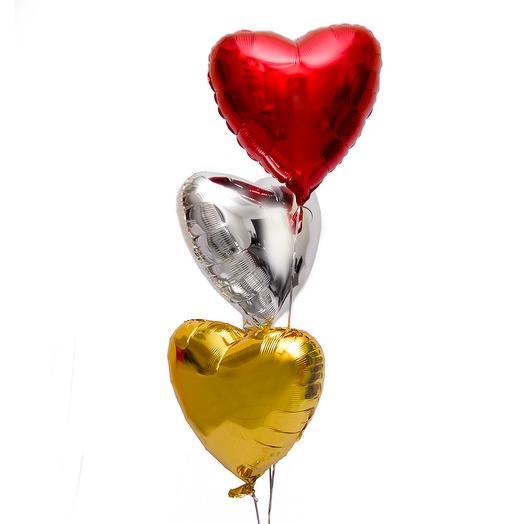 """Фольгированный шар """"3 сердца микс"""""""