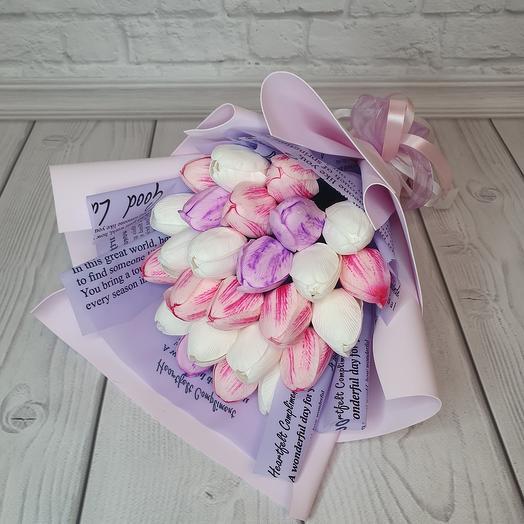 Букет из 25 мыльных тюльпанов