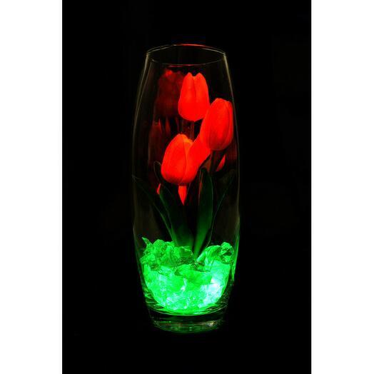 Светодиодные тюльпаны 5шт Красные(зел)