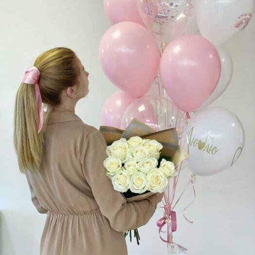 Монобкент из белых крымских роз