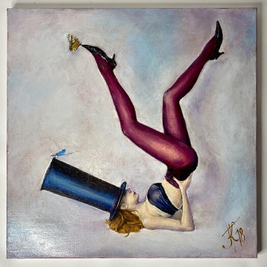 """Картина """"Дама в шляпе с бабочкой"""" 50*50см. масло, холст"""
