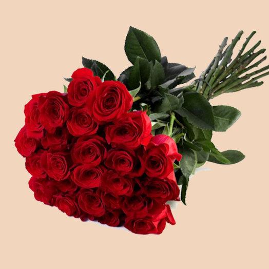 25 роз (красные): букеты цветов на заказ Flowwow
