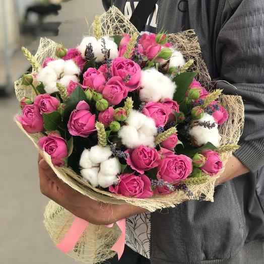 Кустовая пионовидная роза, хлопок, пшеница , лаванда N151
