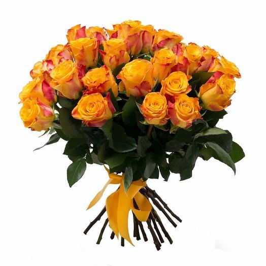 Букет красно желтой розы: букеты цветов на заказ Flowwow