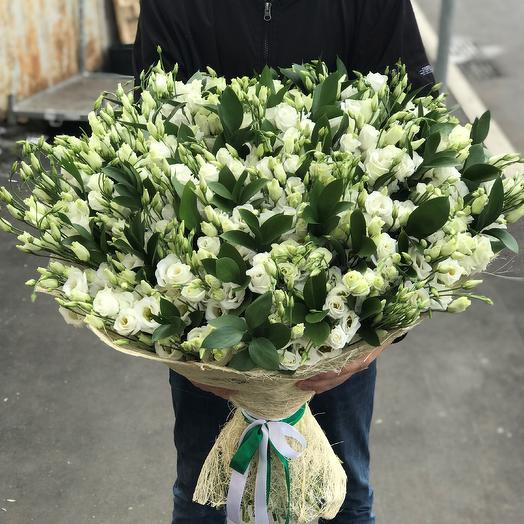 Букет из эустомы 99 шт с рускусом. N280: букеты цветов на заказ Flowwow