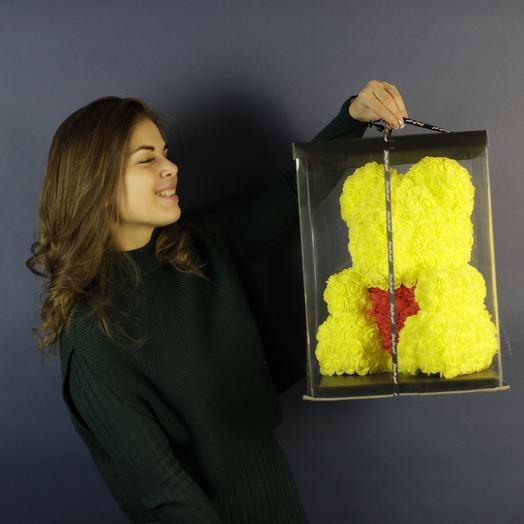 Мишка из желтых розочек: букеты цветов на заказ Flowwow