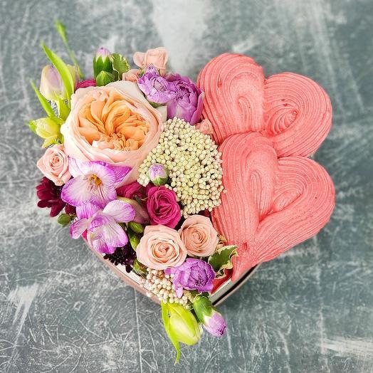 """Композиция сердце """"Вдвоем"""": букеты цветов на заказ Flowwow"""