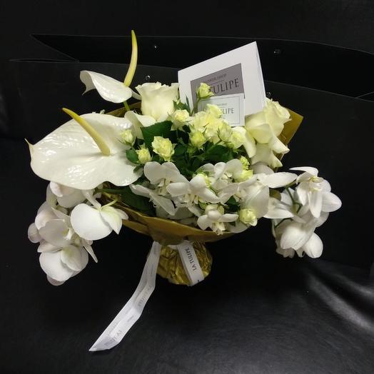 Антуриум и Орхидея: букеты цветов на заказ Flowwow