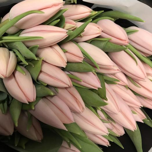Персиковые тюльпаны / 31 шт / в фирменном пакете La Tulipe: букеты цветов на заказ Flowwow