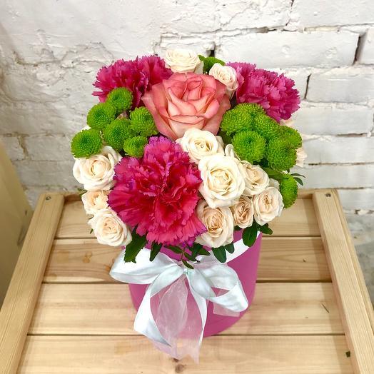 """Шляпная коробка """"Цветущий сад"""": букеты цветов на заказ Flowwow"""