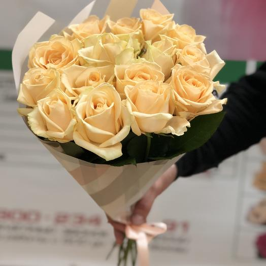 Букет из 15 роз Пич Аваланж: букеты цветов на заказ Flowwow