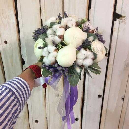 """Букет невесты """"Пион   хлопок"""": букеты цветов на заказ Flowwow"""