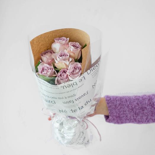 Букет из 7 роз Кения (лаванда)