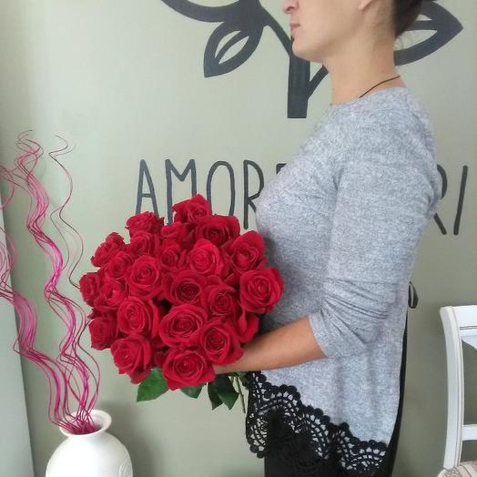 🌹 роза красная 25 штук: букеты цветов на заказ Flowwow